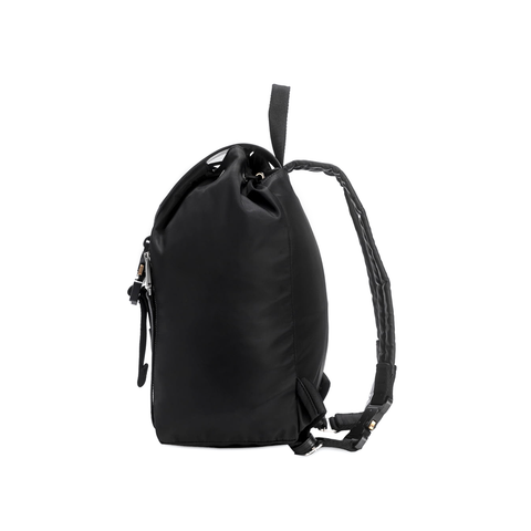 """TANK BACKPACK"" BLACK - WITH LEATHER FLAP"