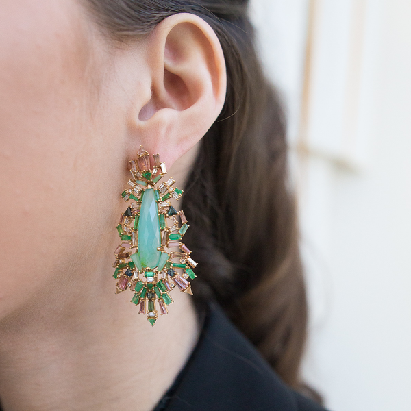"""Falling Fern"" Brocade Earrings"