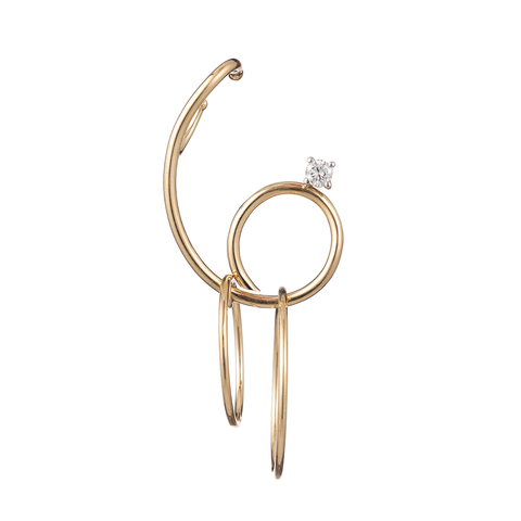 """Single Diamond Camille Earring with Gold Hoop"""
