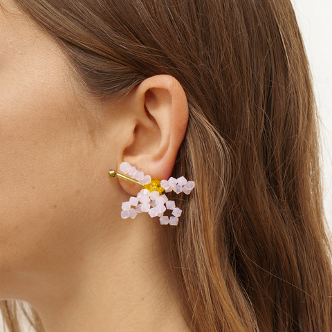 """ASTER CHINENSIS"" ROSE WATER OPAL MONO EARRING"