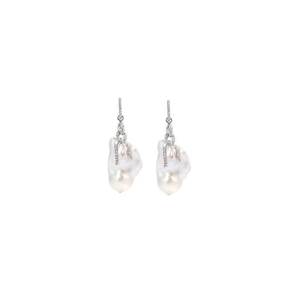 """A Pair of Fine Baroque Pearl and Diamond 18K Gold"" Earrings"