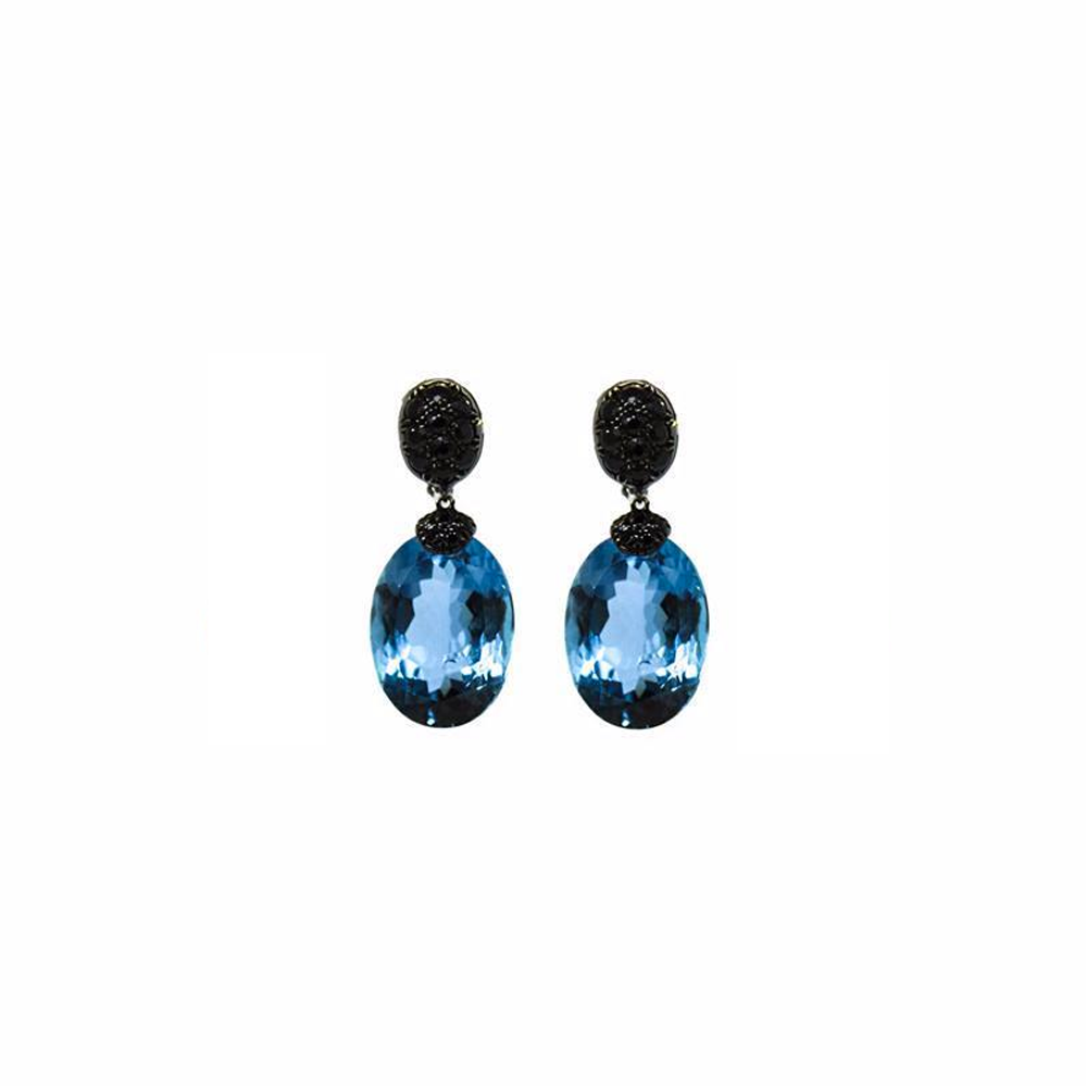 """A Pair of Fine Blue Topaz and Black Sapphire"" 18K Gold  Earrings"