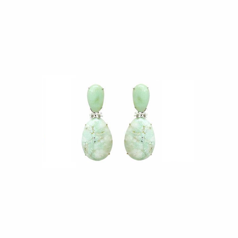 """A pair of rare Green and White Agate and Diamonds"" 18K Gold Earrings"