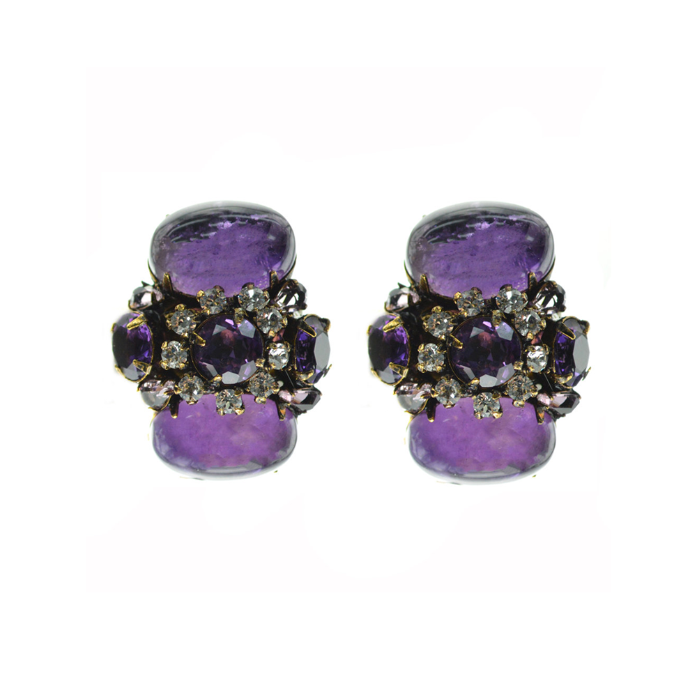 """AMETHYST TWO-STONE"" CLIP EARRINGS"