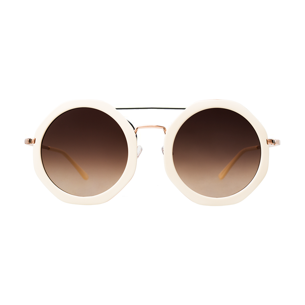 """""""ANTIBES"""" IVORY SUNGLASSES WITH BROWN GRADIENT LENSES"""
