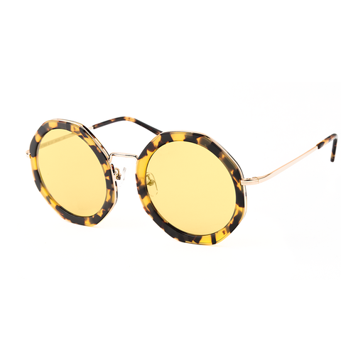 """ANTIBES"" TORTOISE & GOLD SUNGLASSES WITH HONEY TRANSPARENT LENSES"