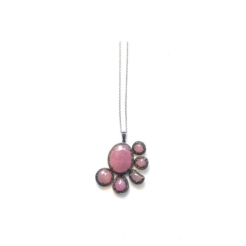 """Light Pink Sapphires & Diamond Flower"" Pendant"