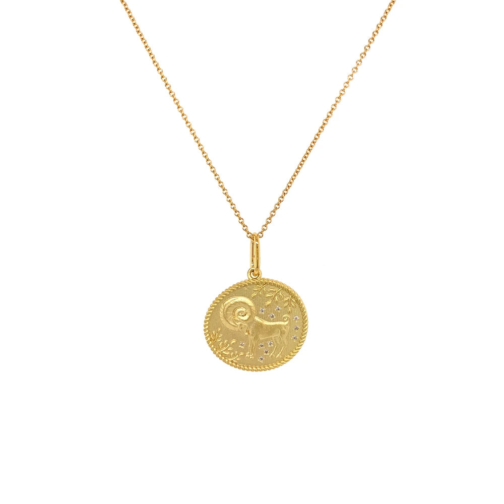 """Aries Double Sided Zodiac"" Pendant"