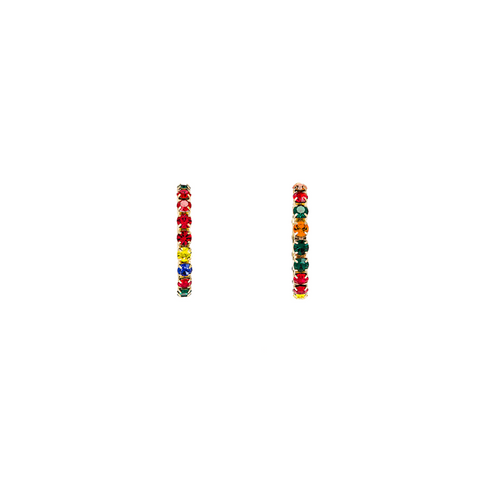 "MEDIUM ""ROUND HOOP"" GOLD BRASS & MULTI COLOUR CRYSTAL EARRINGS"