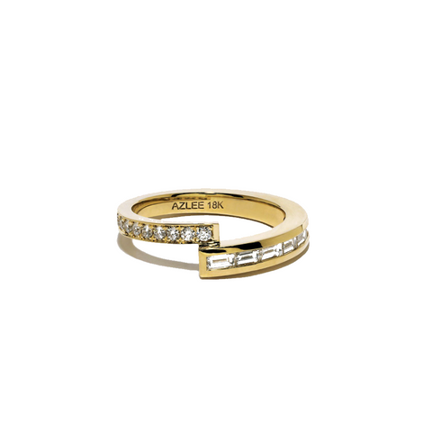 """Pave and Diamond Baguette Band"" Ring"