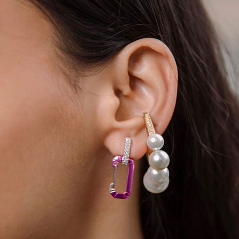 """CHIARA"" SMALL METALLIC PINK & WHITE GOLD MONO EARRING"
