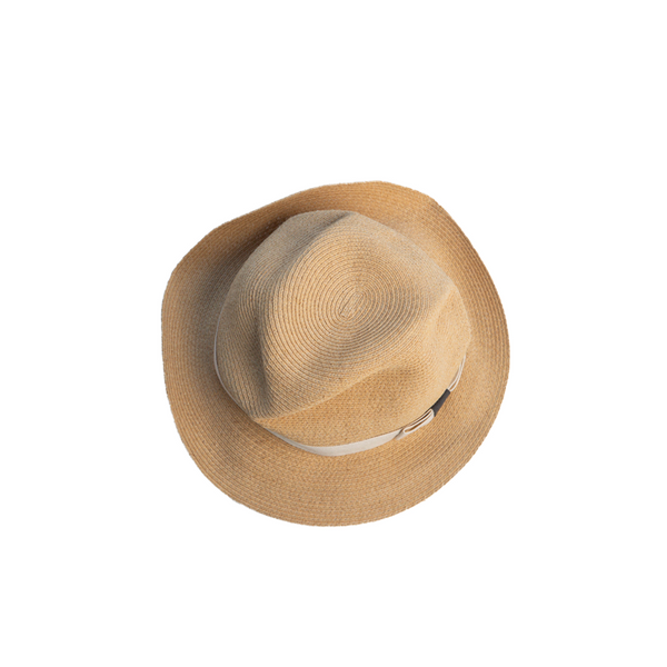 """BOXED RAFFIA"" NATURAL HAT - 11CM BRIM"