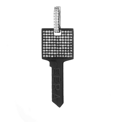 """BIG KEY"" 18K BLACK GOLD PAVÉ EARRING"