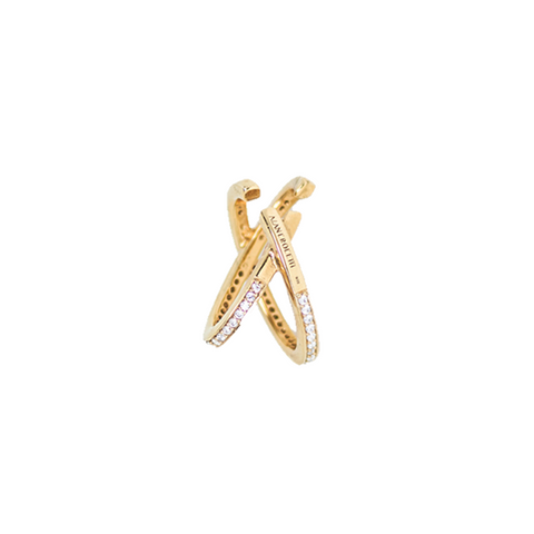 "MINI ""SPACE"" ENCRUSTED GOLD-PLATED MONO EAR CUFF"