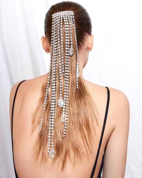 """CRYSTAL FRINGE"" SILVER-TONED PONYTAIL HAIR CLIP"