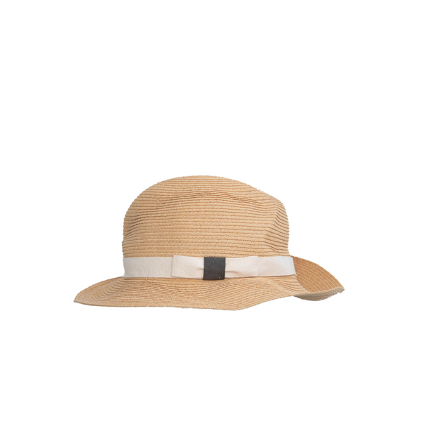 """BOXED RAFFIA"" NATURAL HAT - 6CM BRIM"