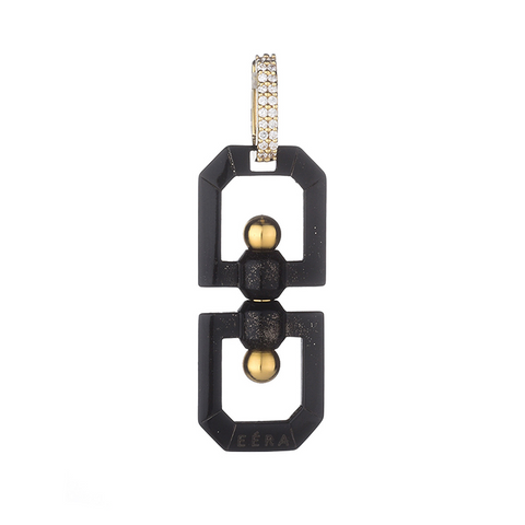 """DOUBLE EYE"" 18K YELLOW & BLACK GOLD EARRING"