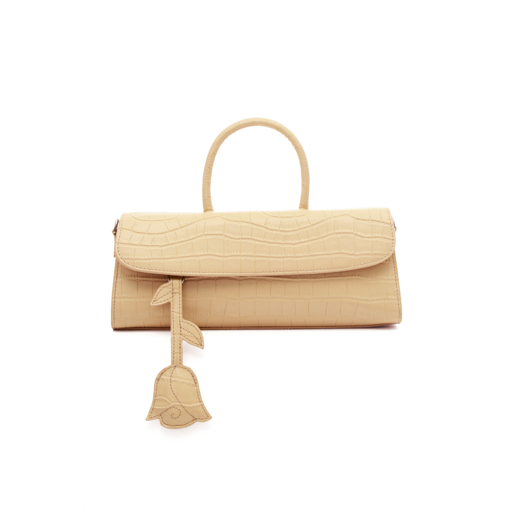 CROC-EMBOSSED LEATHER SATCHEL BAG - BEIGE