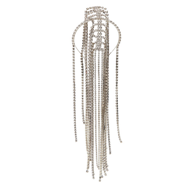 """Silver Glass Crystal Fringe"" Headpiece"