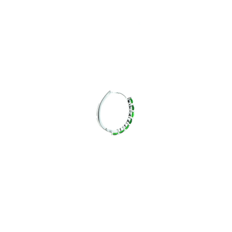 """Small Green Crystal Hoop"" Mono Earring"
