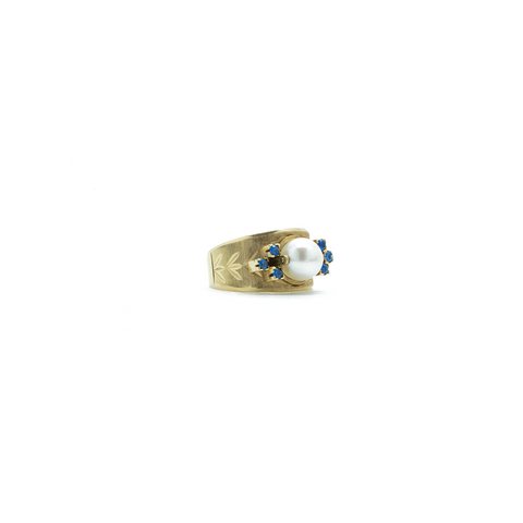 """10K Yellow Gold Pearl and Blue Stone"" Ring"