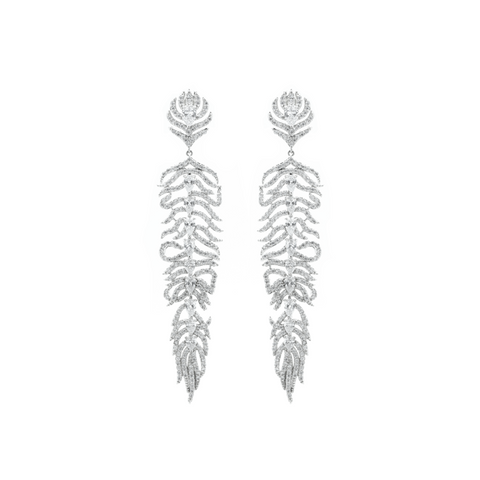 """Crystal Feather"" Earrings"