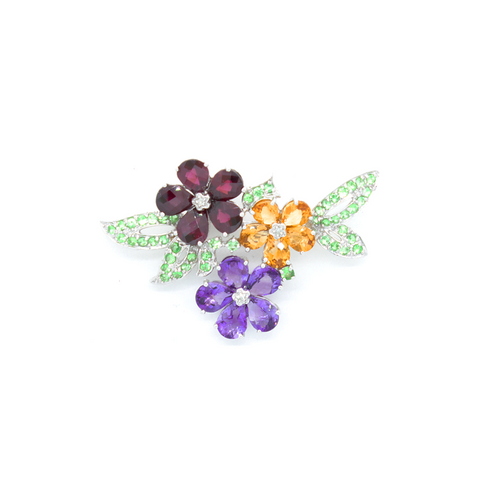 """10k White Gold and Semi-Precious Stones"" Brooch"