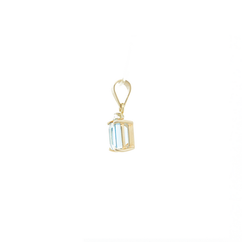"""14k Yellow Gold, Aquamarine and Diamond"" Pendant"