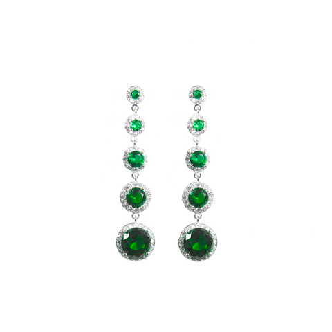 """Green Crystal Diamond Drop"" Earrings"