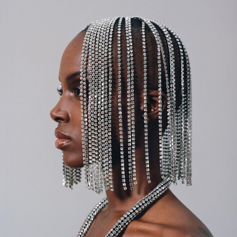 """CLEAR / SILVER CRYSTAL BOB"" HAIRPIECE"