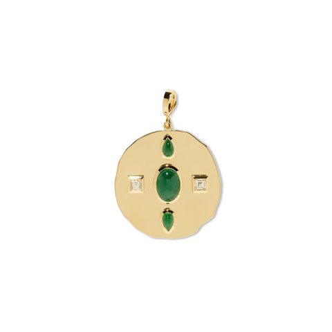 """MODERN BYZANTINE EMERALD AND DIAMOND LARGE COIN"" CHARM"