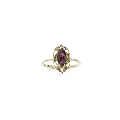 """10K Yellow Gold and Garnet"" Ring"