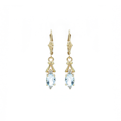 """14k Yellow Gold and Aquamarine"" Earrings"