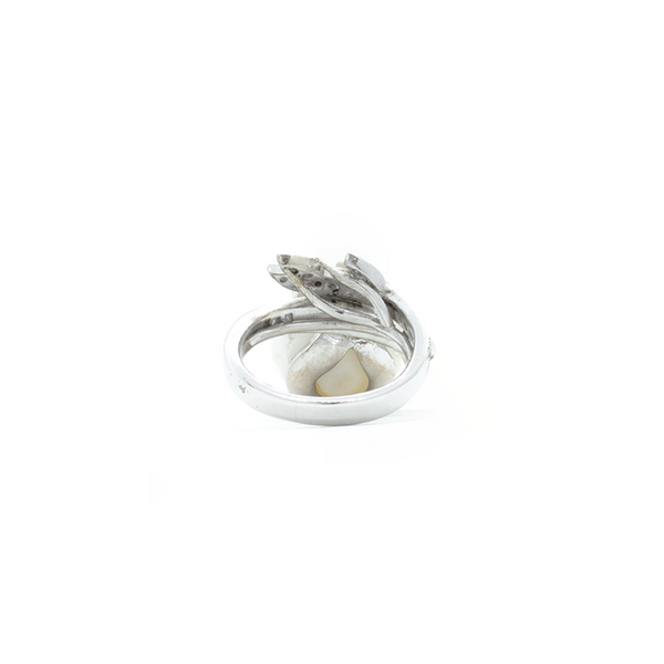 """14k White Gold and Pearl Diamond"" Ring"