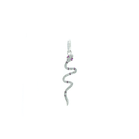 """White Crystal with Pink Eye Snake"" Mono Earring"