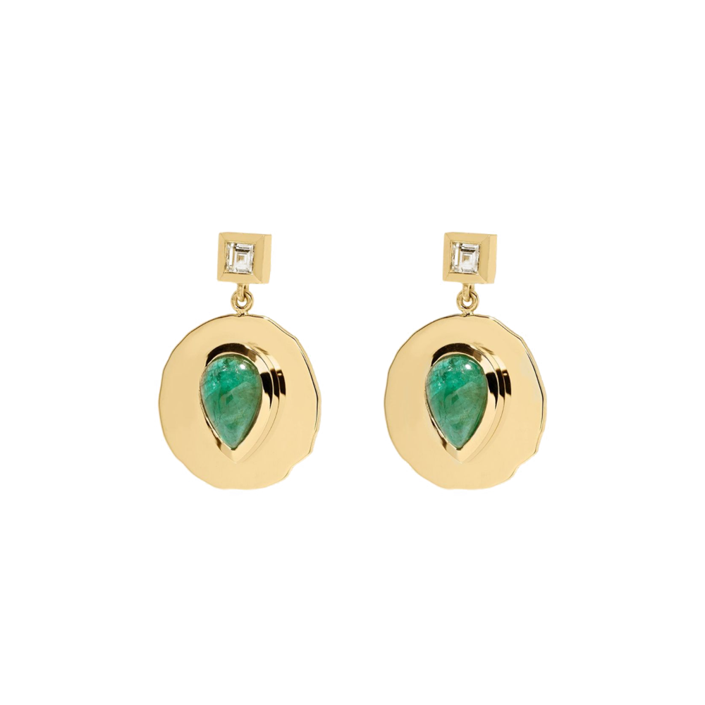 """MODERN BYZANTINE EMERALD AND DIAMOND COIN"" EARRINGS"