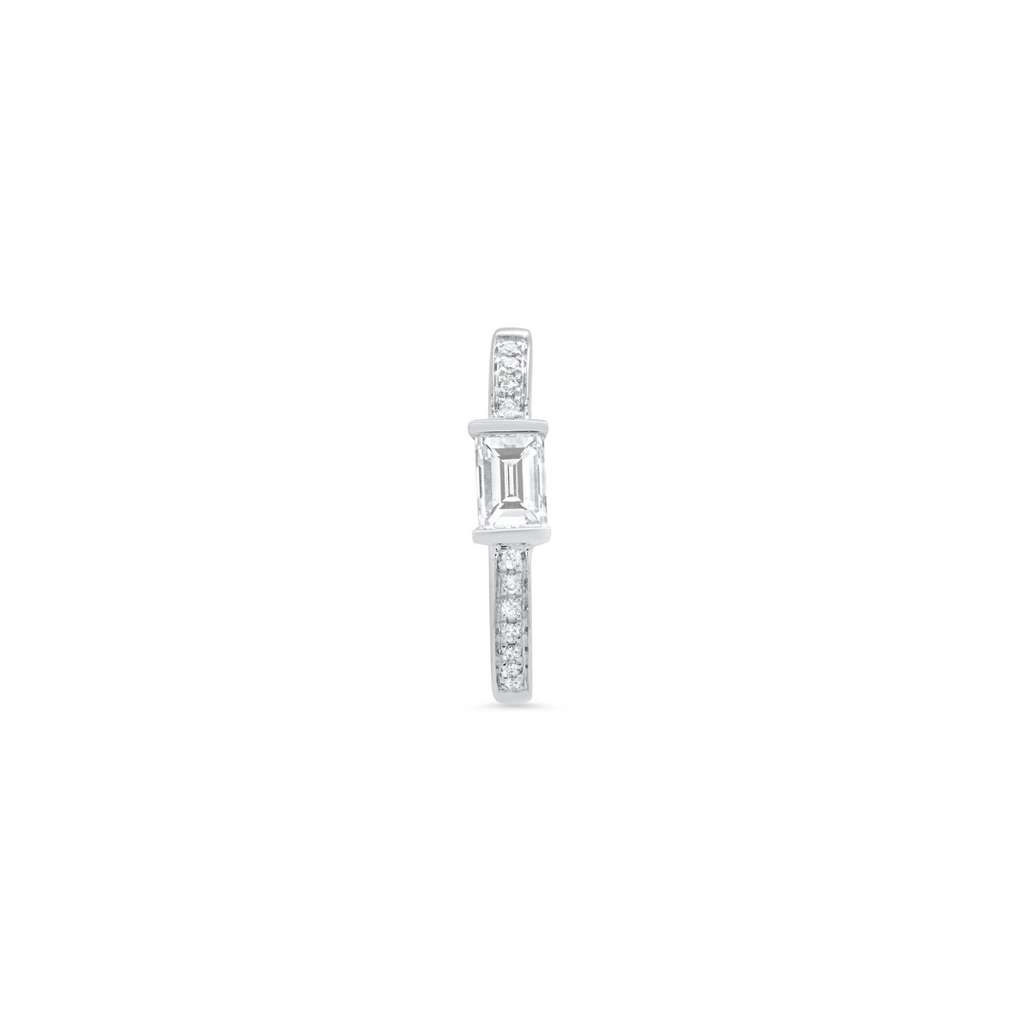 """Medium Maasai Baguette White Diamond with Pavé"" Hoop Earring"