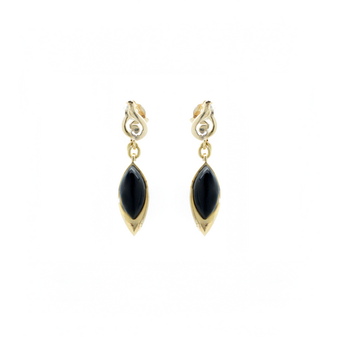 """18K Yellow Gold and Onyx"" Earrings"