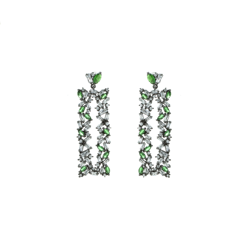 """Green and White Crystal Rectangular"" Earrings"