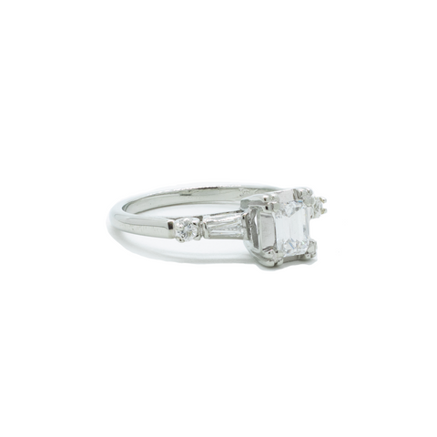 """Emerald Cut Diamond with Baguette Accents"" Ring"