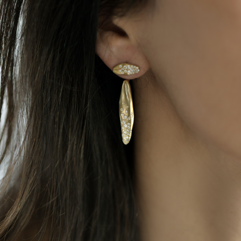 """BABY MALAK FLOURISH ICE HALF LONG"" 18K YELLOW GOLD & DIAMONDS EARRINGS"