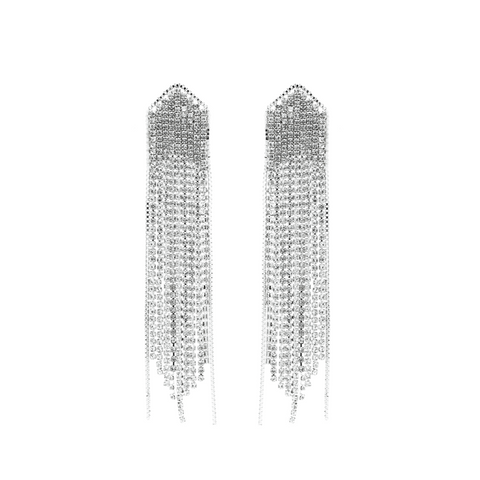 """Crystal Silver Fringe"" Earrings"