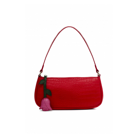 CROC-EMBOSSED LEATHER SHOULDER BAG - RUBY RED