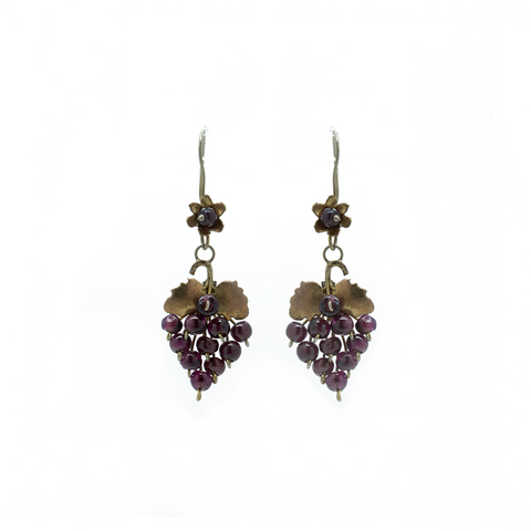 """9k Gold Red Grape"" Earrings"