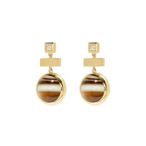 """HORIZON AGATE DIAMOND"" EARRINGS"