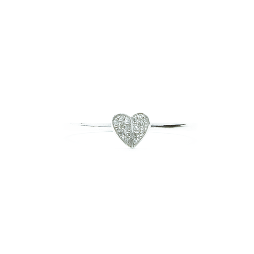 """18k White Gold and Diamond Heart"" Ring"