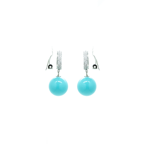 """Crystal Button Clip-On Turqouise"" Earrings"