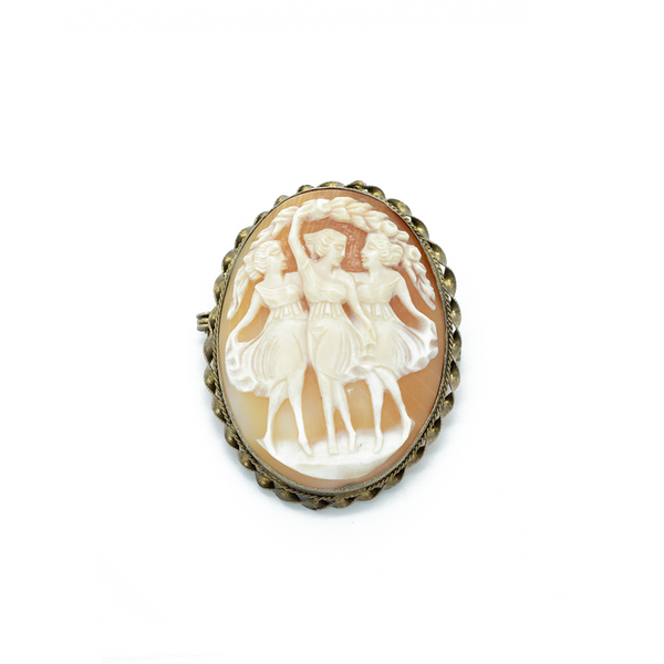 """Dancing Girls Cameo"" Brooch"