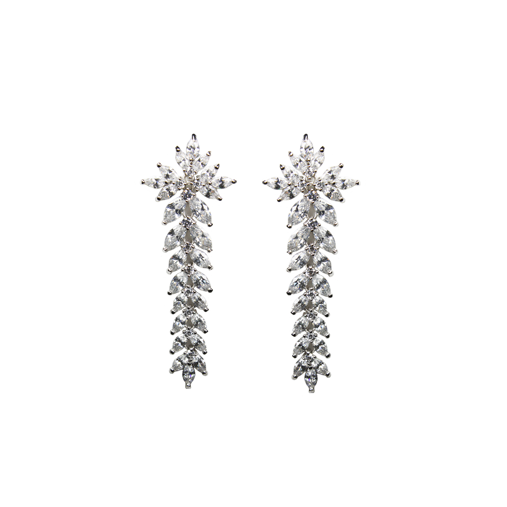 """Large Crystal Drop Snowflakes"" Earrings"