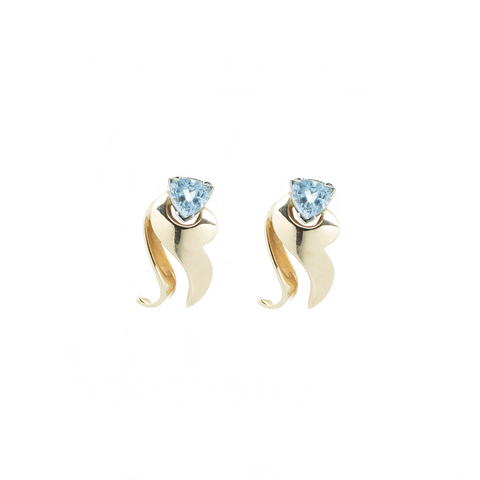 """14k Yellow Gold and Aquamarine"" Studs"